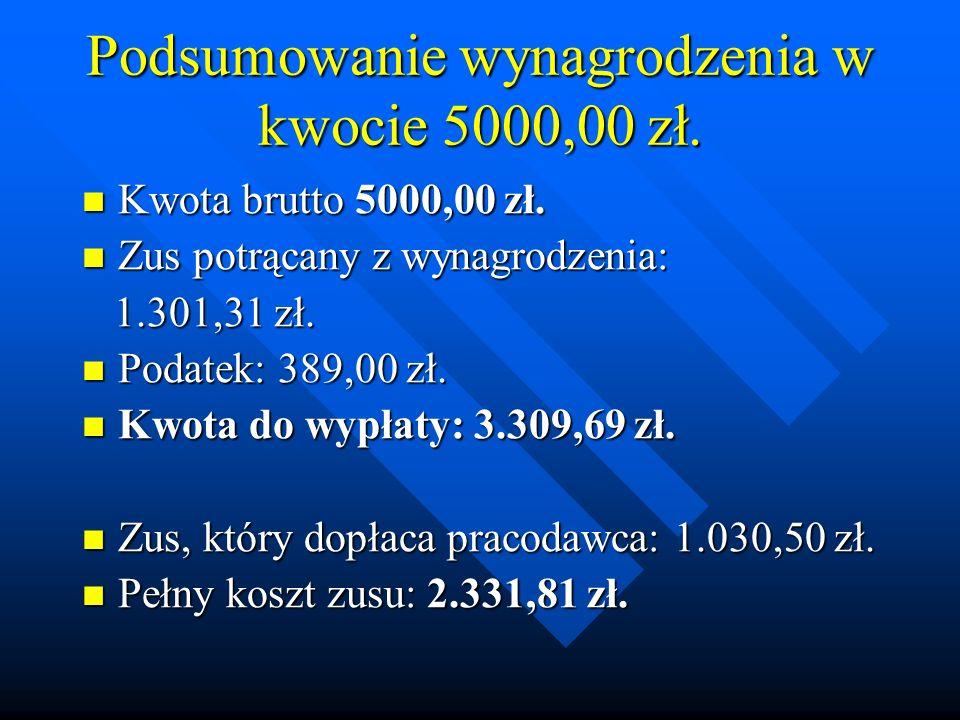 Podsumowanie wynagrodzenia w kwocie 5000,00 zł.