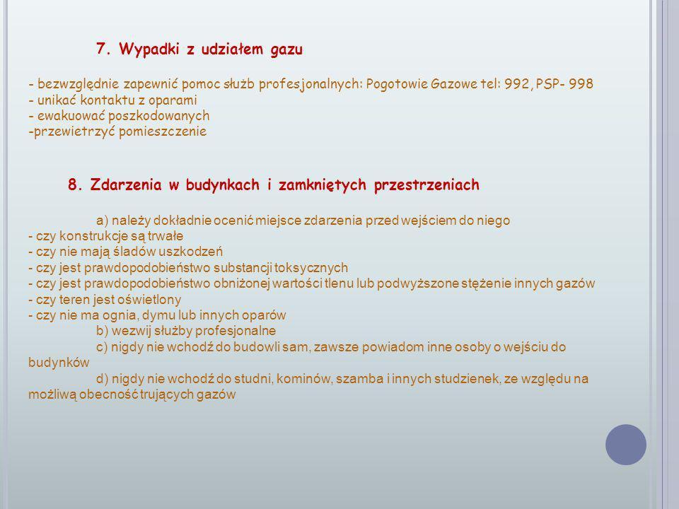 7. Wypadki z udziałem gazu