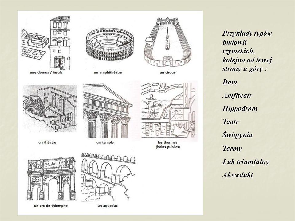 Przykłady typów budowli rzymskich, kolejno od lewej strony u góry :