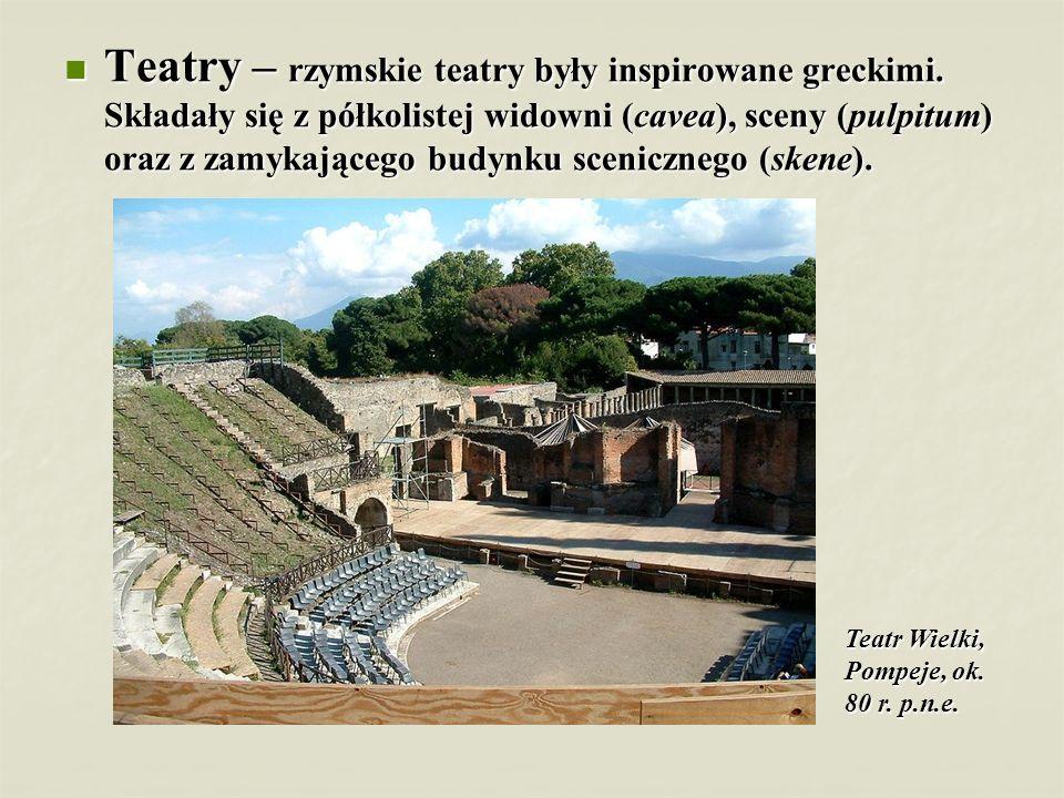 Teatry – rzymskie teatry były inspirowane greckimi
