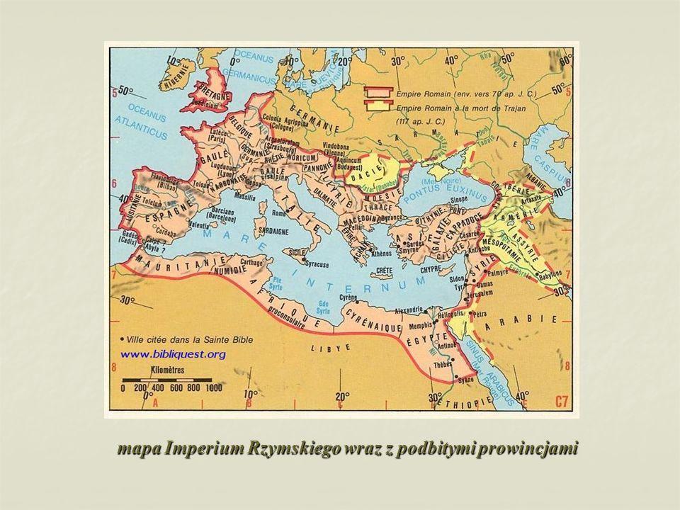 mapa Imperium Rzymskiego wraz z podbitymi prowincjami