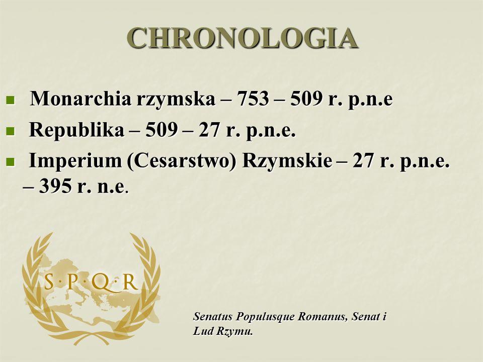 CHRONOLOGIA Monarchia rzymska – 753 – 509 r. p.n.e