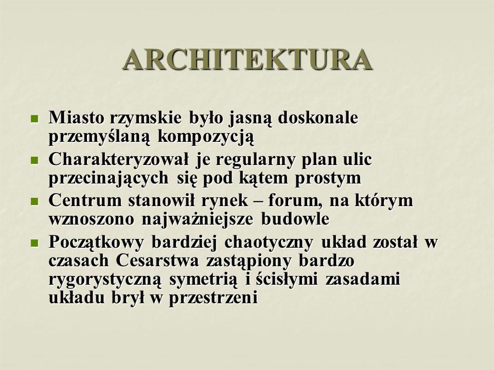 ARCHITEKTURA Miasto rzymskie było jasną doskonale przemyślaną kompozycją.
