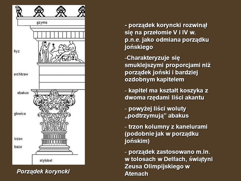 - porządek koryncki rozwinął się na przełomie V i IV w. p. n. e