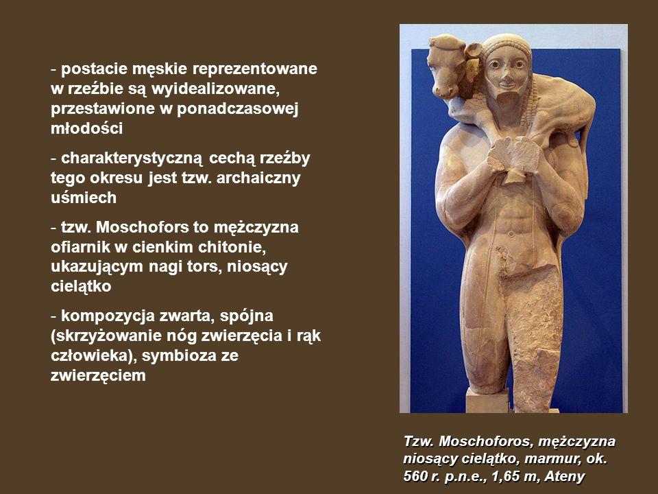 postacie męskie reprezentowane w rzeźbie są wyidealizowane, przestawione w ponadczasowej młodości