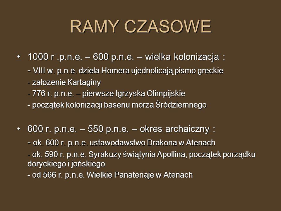 RAMY CZASOWE 1000 r .p.n.e. – 600 p.n.e. – wielka kolonizacja :