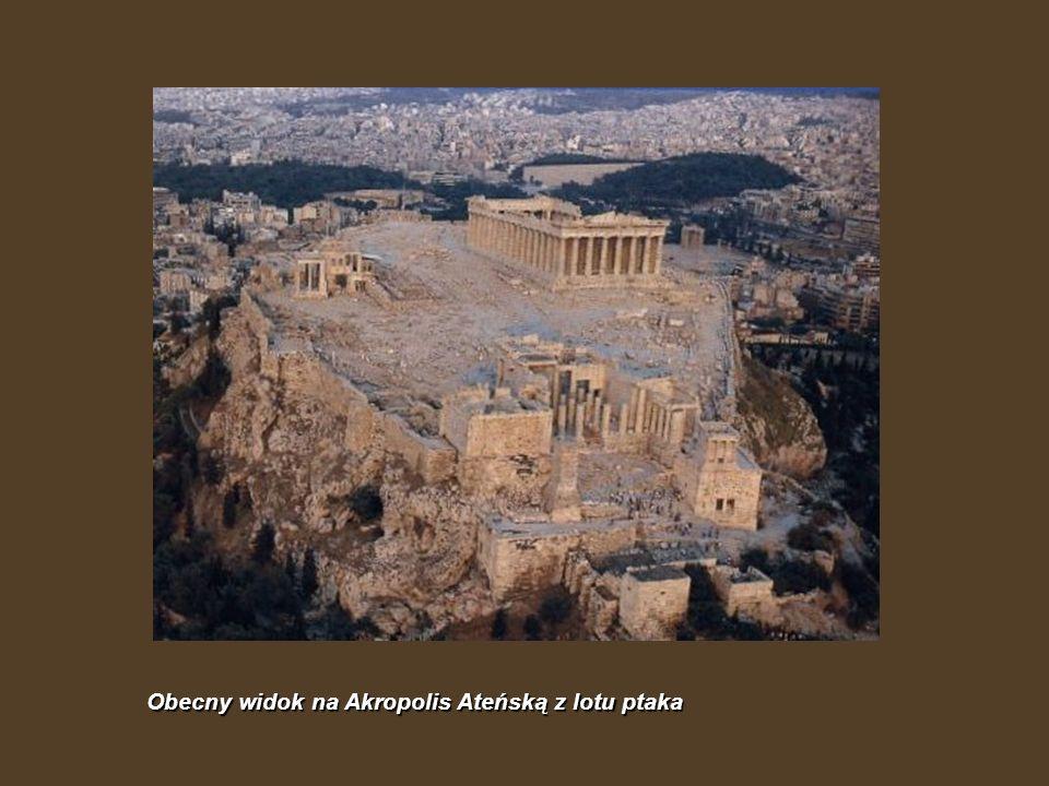 Obecny widok na Akropolis Ateńską z lotu ptaka
