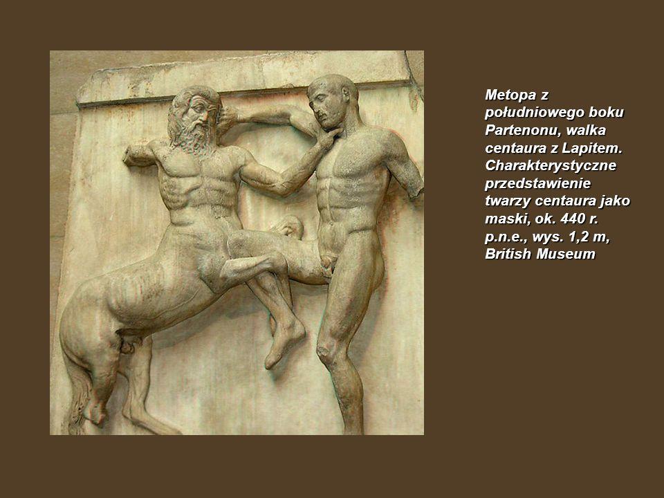 Metopa z południowego boku Partenonu, walka centaura z Lapitem