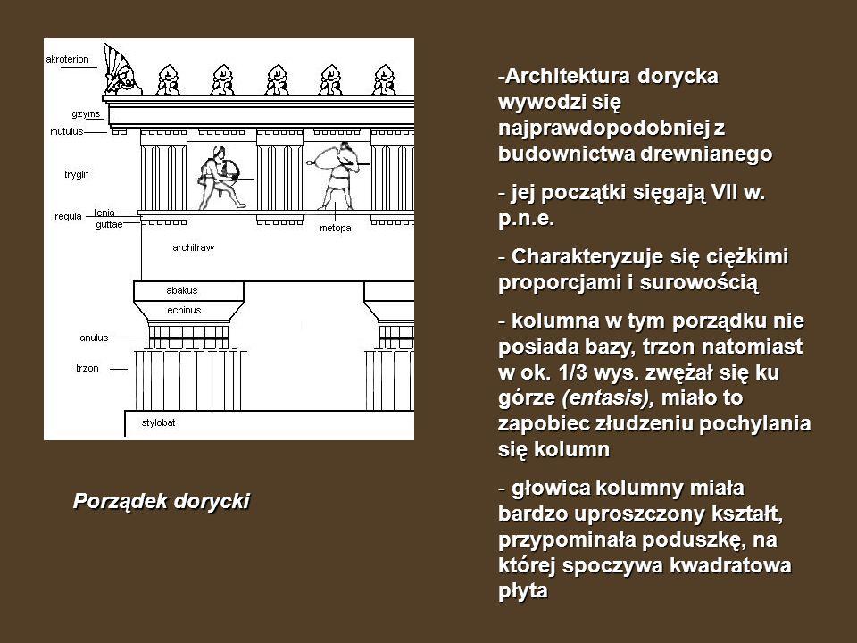 Architektura dorycka wywodzi się najprawdopodobniej z budownictwa drewnianego