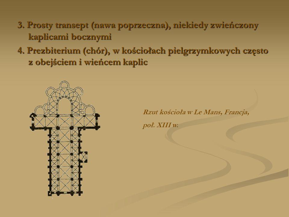 3. Prosty transept (nawa poprzeczna), niekiedy zwieńczony kaplicami bocznymi