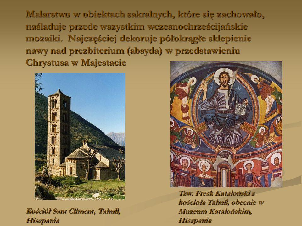 Malarstwo w obiektach sakralnych, które się zachowało, naśladuje przede wszystkim wczesnochrześcijańskie mozaiki. Najczęściej dekoruje półokrągłe sklepienie nawy nad prezbiterium (absyda) w przedstawieniu Chrystusa w Majestacie