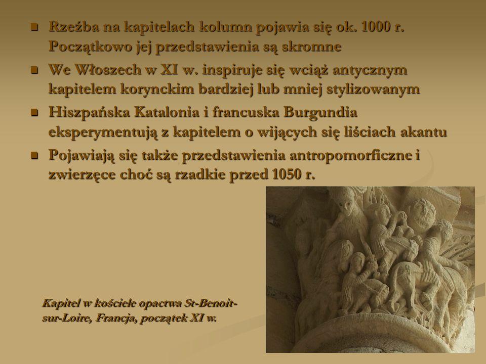 Rzeźba na kapitelach kolumn pojawia się ok. 1000 r