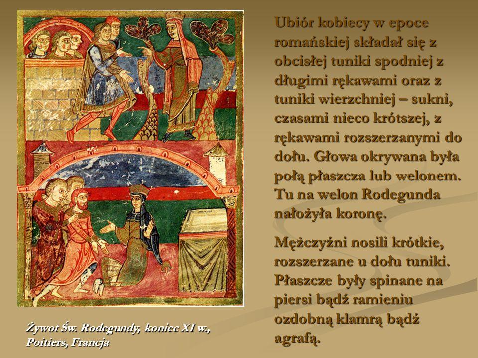 Ubiór kobiecy w epoce romańskiej składał się z obcisłej tuniki spodniej z długimi rękawami oraz z tuniki wierzchniej – sukni, czasami nieco krótszej, z rękawami rozszerzanymi do dołu. Głowa okrywana była połą płaszcza lub welonem. Tu na welon Rodegunda nałożyła koronę.