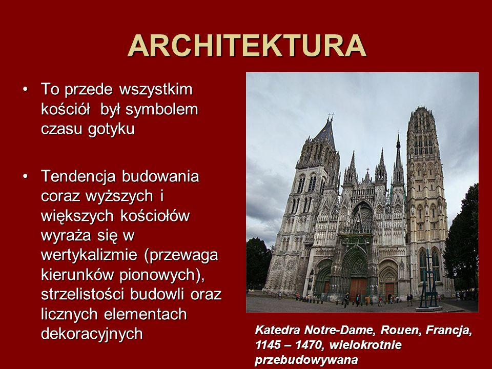 ARCHITEKTURA To przede wszystkim kościół był symbolem czasu gotyku