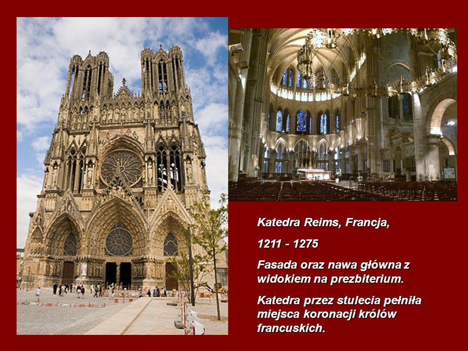 Katedra Reims, Francja, 1211 - 1275. Fasada oraz nawa główna z widokiem na prezbiterium.