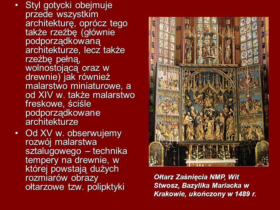 Styl gotycki obejmuje przede wszystkim architekturę, oprócz tego także rzeźbę (głównie podporządkowaną architekturze, lecz także rzeźbę pełną, wolnostojącą oraz w drewnie) jak również malarstwo miniaturowe, a od XIV w. także malarstwo freskowe, ściśle podporządkowane architekturze