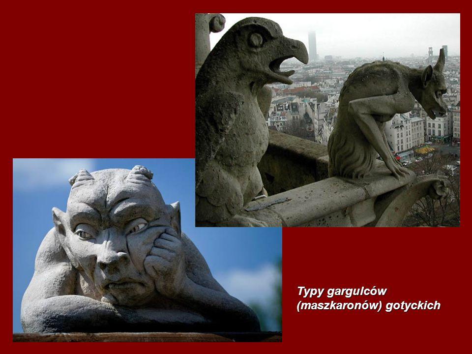 Typy gargulców (maszkaronów) gotyckich