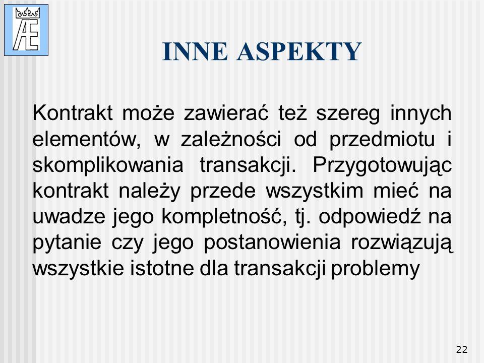 INNE ASPEKTY