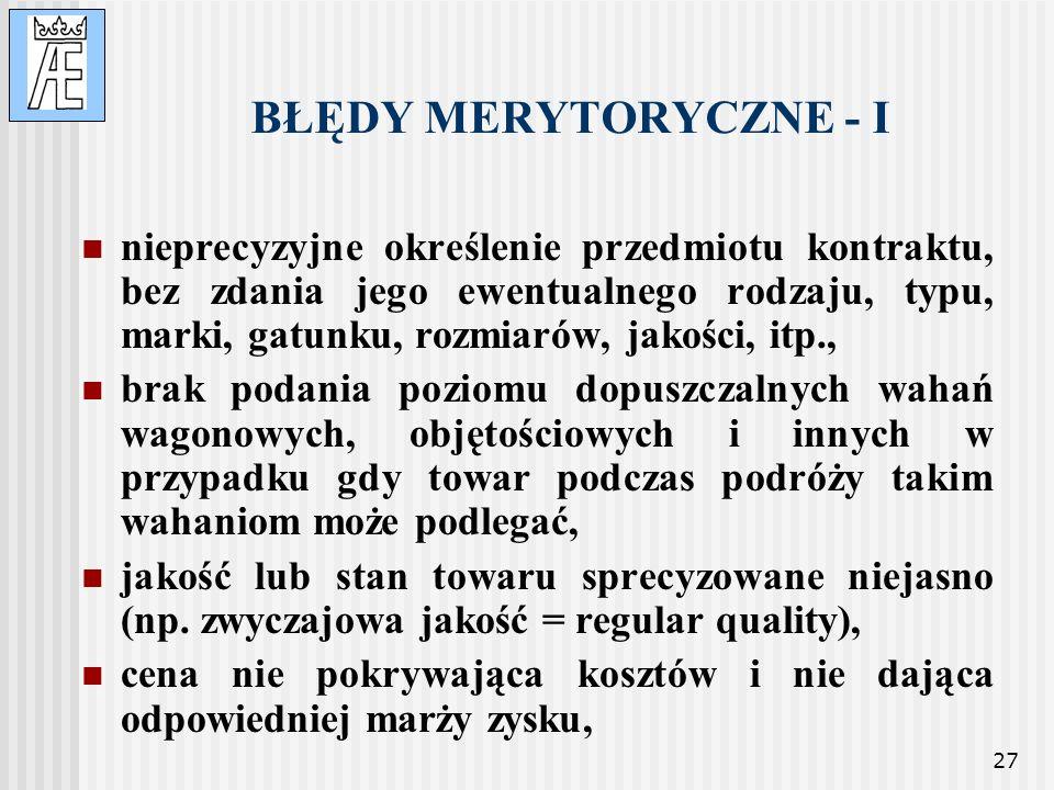 BŁĘDY MERYTORYCZNE - I