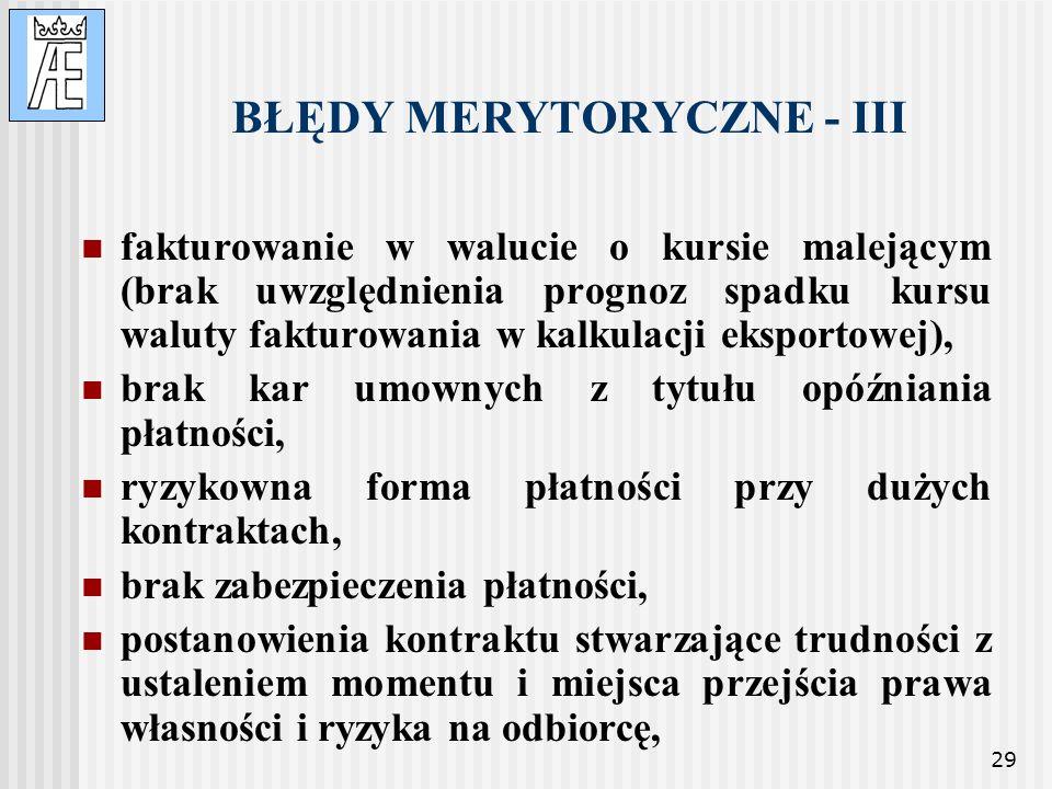BŁĘDY MERYTORYCZNE - III
