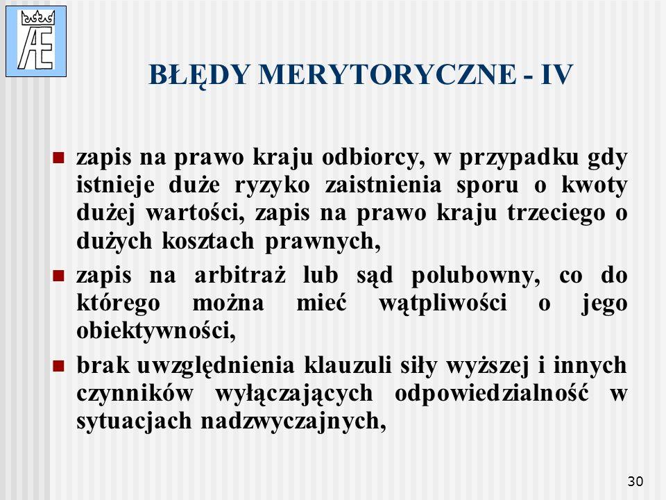 BŁĘDY MERYTORYCZNE - IV