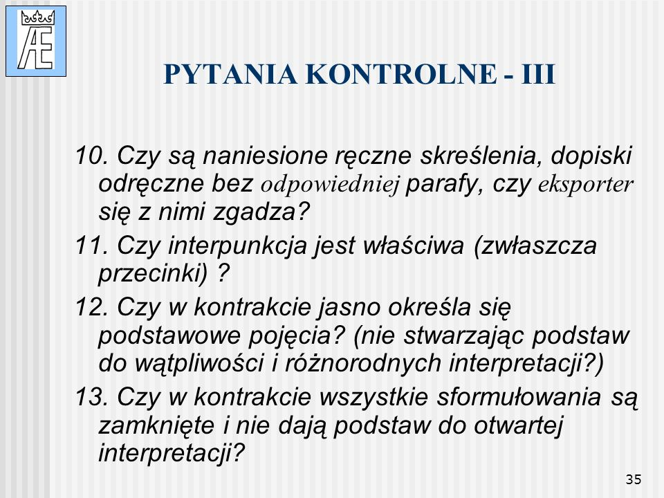 PYTANIA KONTROLNE - III
