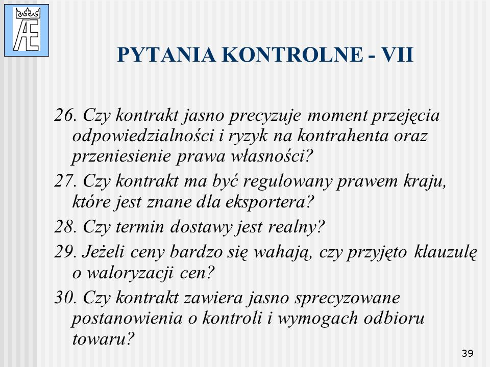PYTANIA KONTROLNE - VII