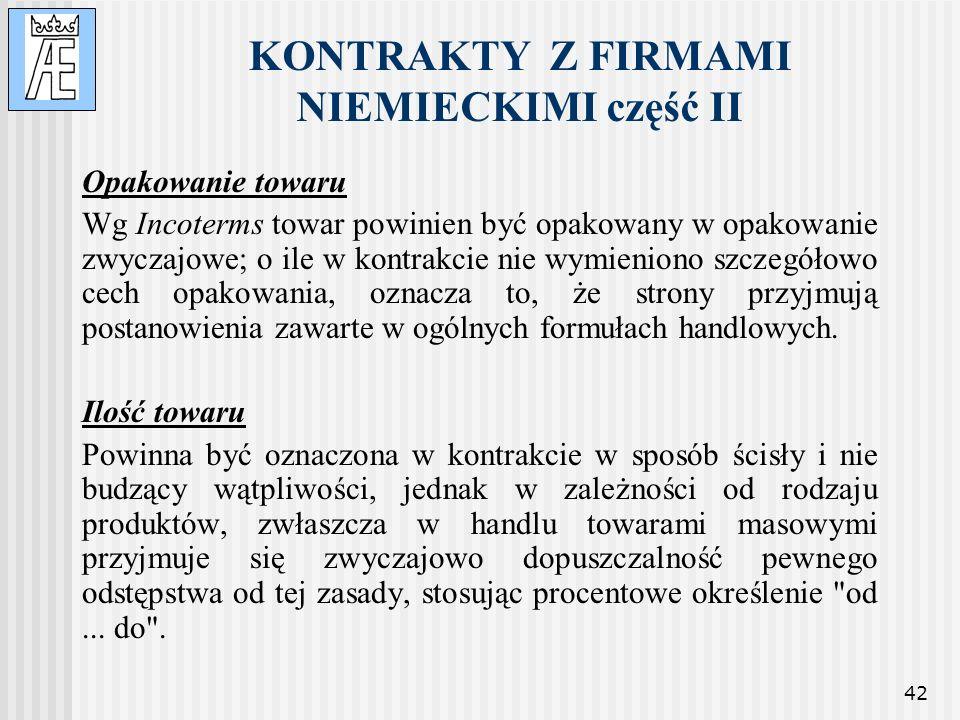 KONTRAKTY Z FIRMAMI NIEMIECKIMI część II