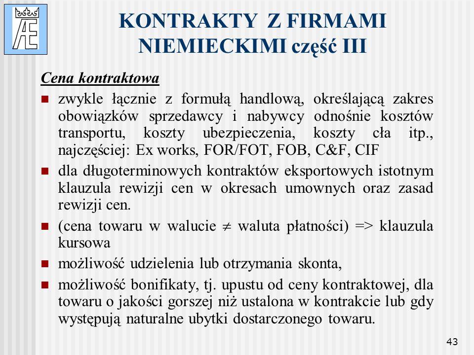 KONTRAKTY Z FIRMAMI NIEMIECKIMI część III