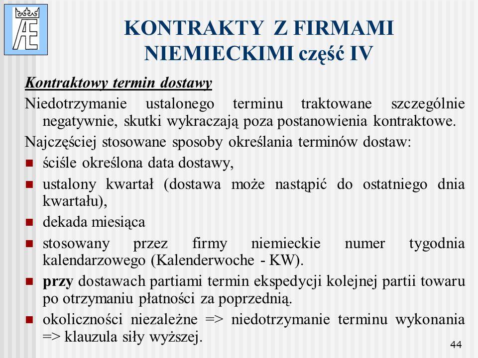 KONTRAKTY Z FIRMAMI NIEMIECKIMI część IV