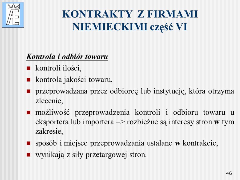 KONTRAKTY Z FIRMAMI NIEMIECKIMI część VI