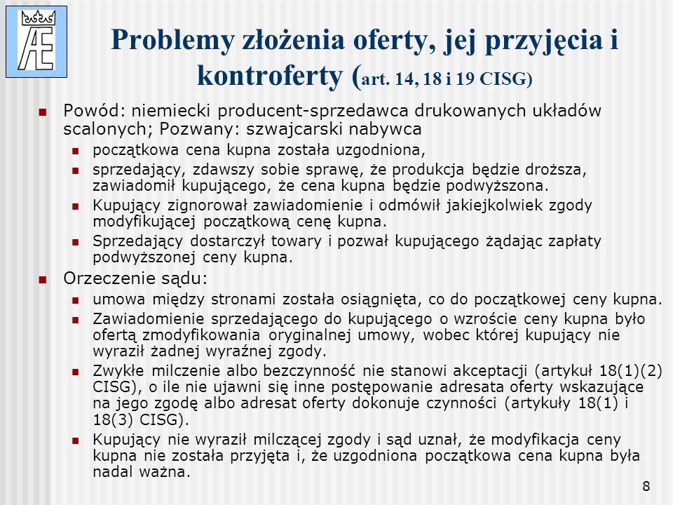 Problemy złożenia oferty, jej przyjęcia i kontroferty (art