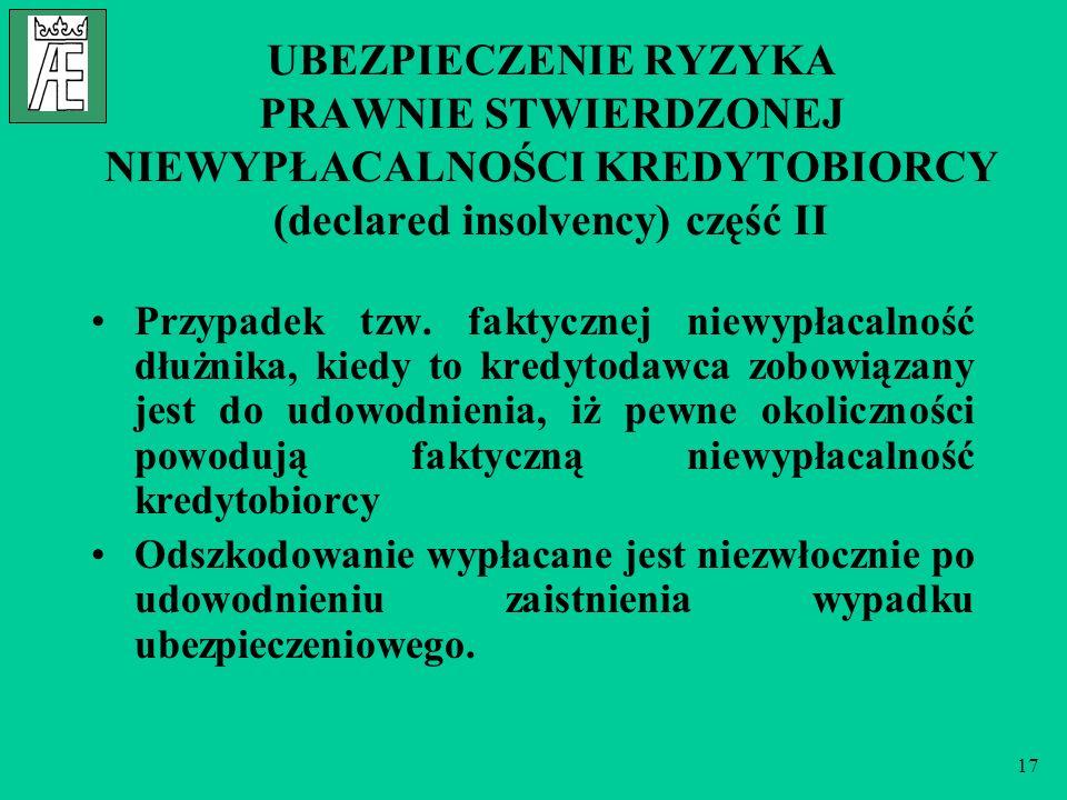 UBEZPIECZENIE RYZYKA PRAWNIE STWIERDZONEJ NIEWYPŁACALNOŚCI KREDYTOBIORCY (declared insolvency) część II