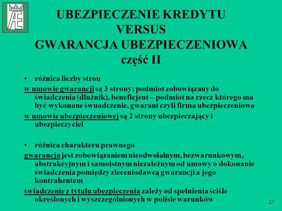 UBEZPIECZENIE KREDYTU VERSUS GWARANCJA UBEZPIECZENIOWA część II
