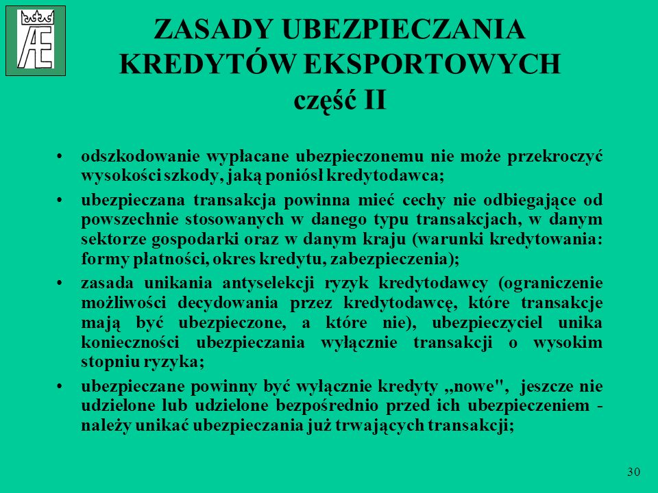 ZASADY UBEZPIECZANIA KREDYTÓW EKSPORTOWYCH część II