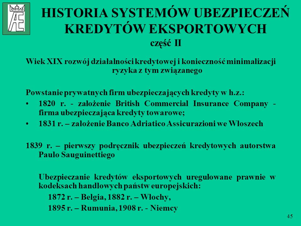 HISTORIA SYSTEMÓW UBEZPIECZEŃ KREDYTÓW EKSPORTOWYCH część II