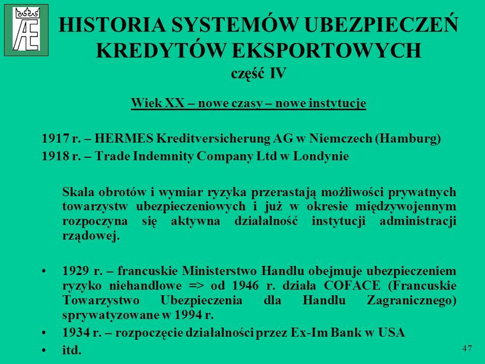 HISTORIA SYSTEMÓW UBEZPIECZEŃ KREDYTÓW EKSPORTOWYCH część IV