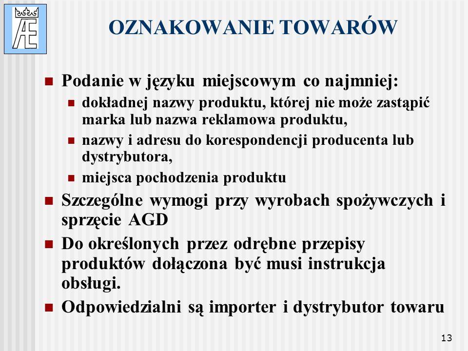 OZNAKOWANIE TOWARÓW Podanie w języku miejscowym co najmniej:
