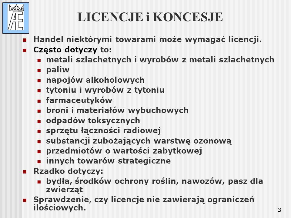 LICENCJE i KONCESJE Handel niektórymi towarami może wymagać licencji.