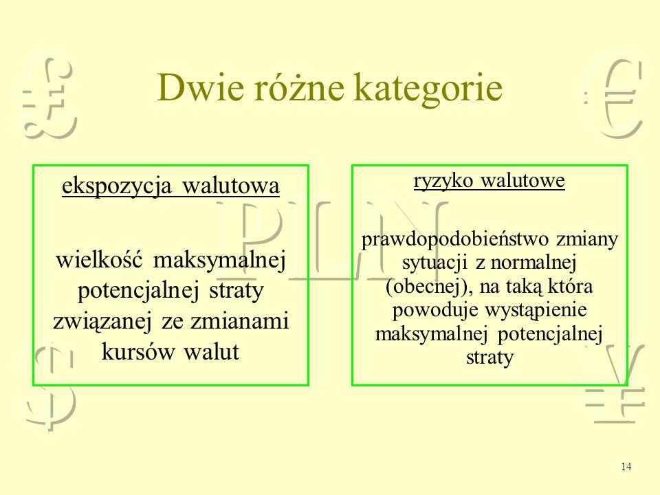 Dwie różne kategorie ekspozycja walutowa