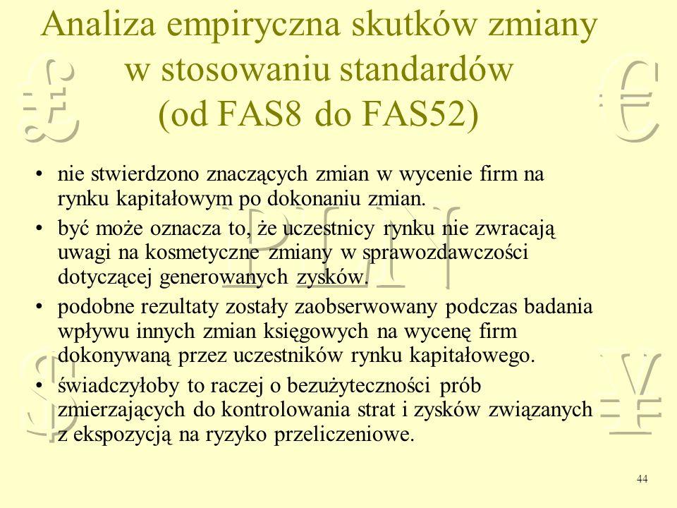 Analiza empiryczna skutków zmiany w stosowaniu standardów (od FAS8 do FAS52)