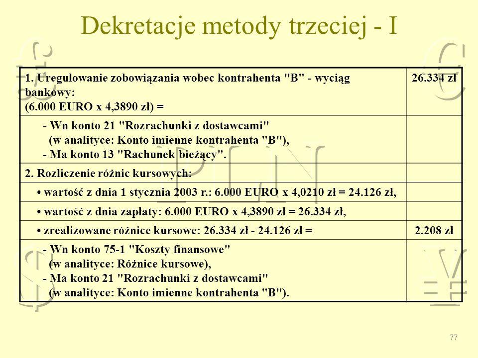 Dekretacje metody trzeciej - I
