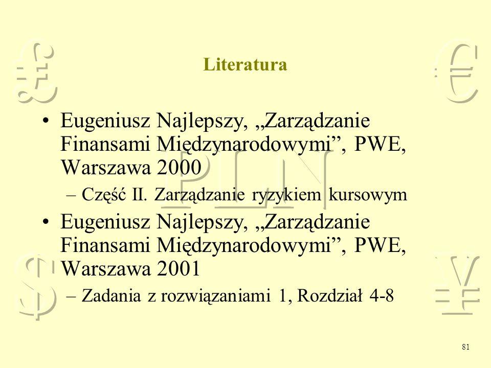 """Literatura Eugeniusz Najlepszy, """"Zarządzanie Finansami Międzynarodowymi , PWE, Warszawa 2000. Część II. Zarządzanie ryzykiem kursowym."""