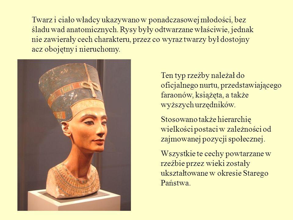 Twarz i ciało władcy ukazywano w ponadczasowej młodości, bez śladu wad anatomicznych. Rysy były odtwarzane właściwie, jednak nie zawierały cech charakteru, przez co wyraz twarzy był dostojny acz obojętny i nieruchomy.
