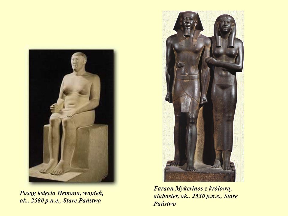 Faraon Mykerinos z królową, alabaster, ok.. 2530 p.n.e., Stare Państwo