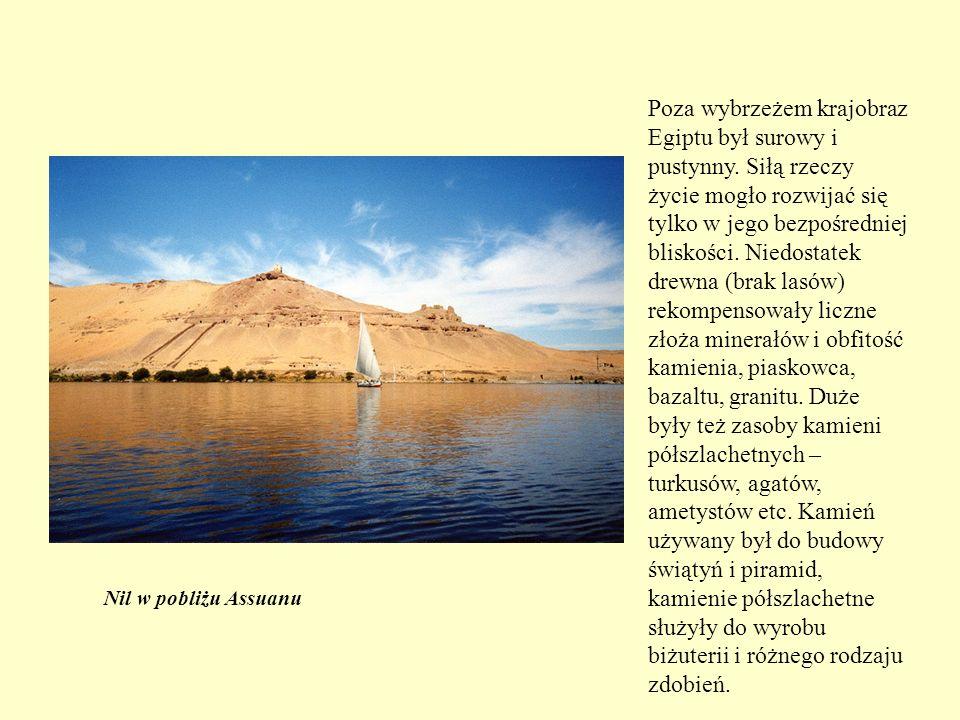 Poza wybrzeżem krajobraz Egiptu był surowy i pustynny