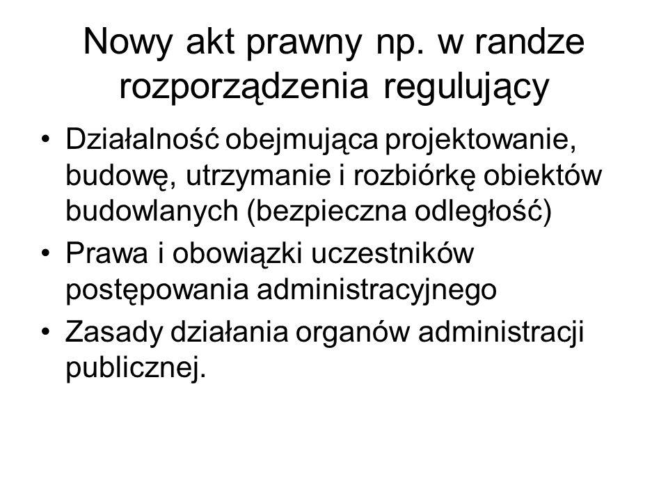 Nowy akt prawny np. w randze rozporządzenia regulujący