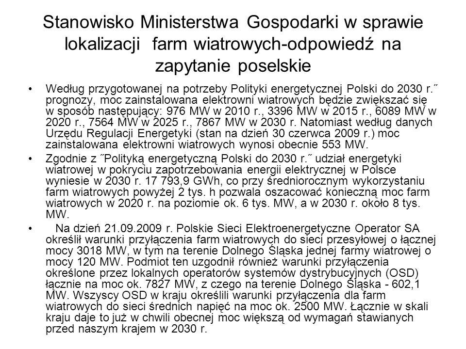 Stanowisko Ministerstwa Gospodarki w sprawie lokalizacji farm wiatrowych-odpowiedź na zapytanie poselskie