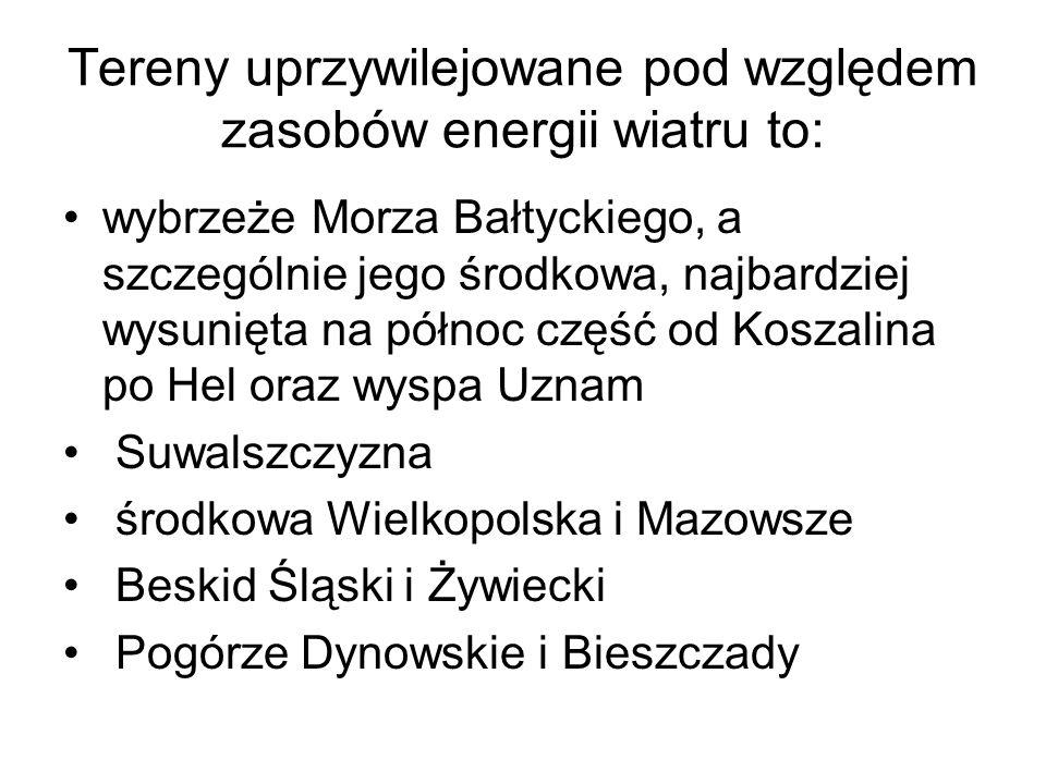 Tereny uprzywilejowane pod względem zasobów energii wiatru to: