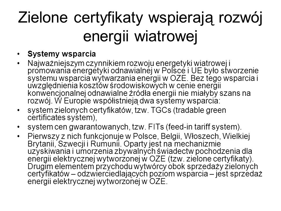 Zielone certyfikaty wspierają rozwój energii wiatrowej